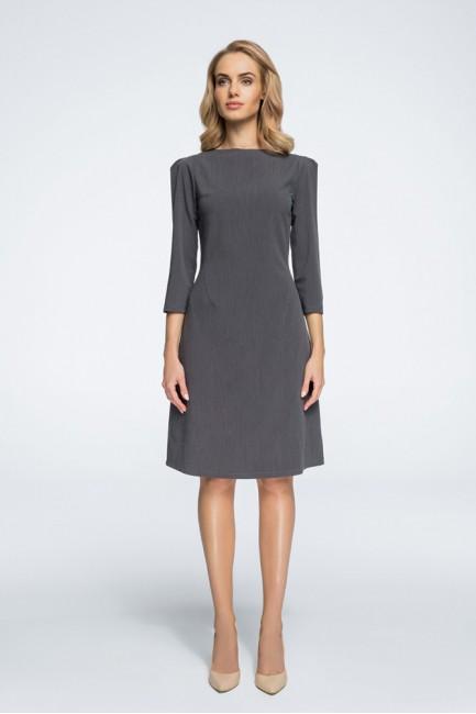 Sukienka z rękawami typu bufka - szara