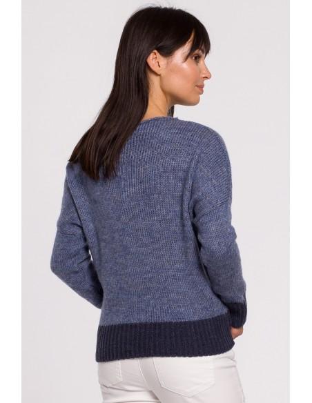 Sweter oversize typu kimono - niebieski