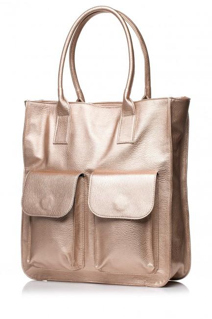Duża torebka na ramię - miedziana