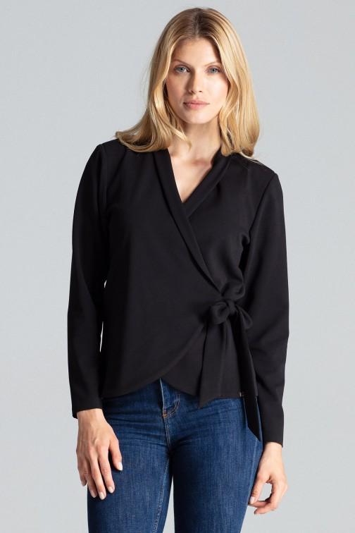 CM5038 Luźna bluzka wiązana w pasie - czarna