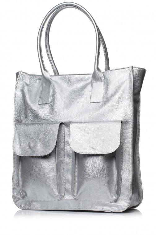 CM3568 Duża torebka na ramię - srebrna