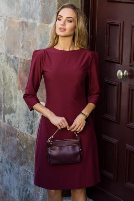 Sukienka z rękawami typu bufka - bordowa