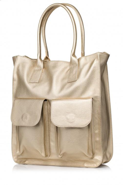 CM3568 Duża torebka na ramię - złota