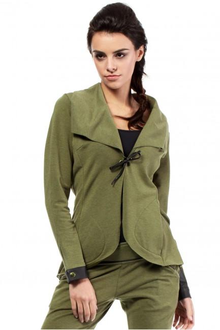 Dresowy żakiet damski ze skórzanymi wstawkami - khaki
