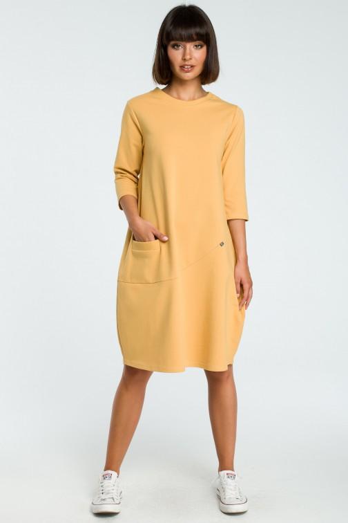CM3797 Kobieca sukienka bombka - żółta OUTLET