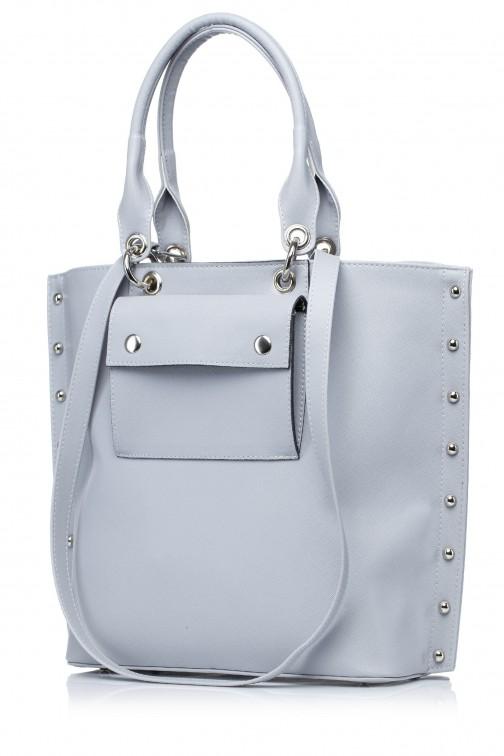 CM3571 Stylowa torebka z kieszonką - szara