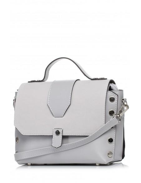 Mała zapinana torebka z paskiem - szara