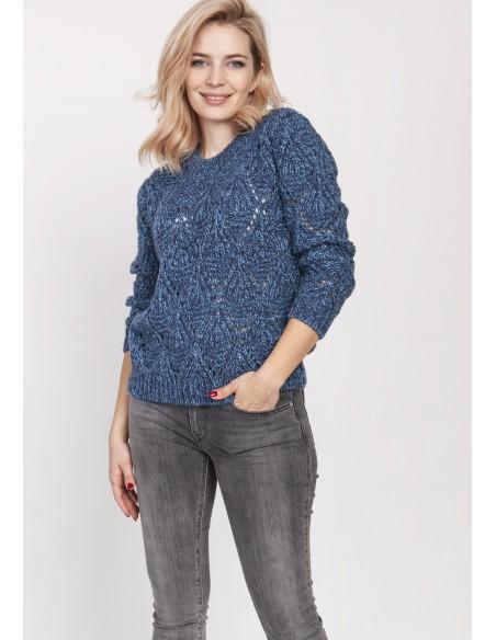 Ażurowy sweter z okrągłym dekoltem - jeansowy