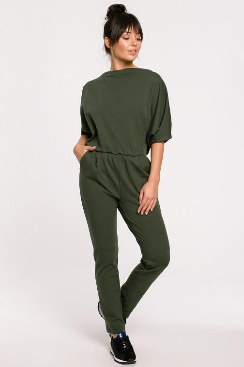 Kombinezon z tyłem na zakładkę - militarno-zielony
