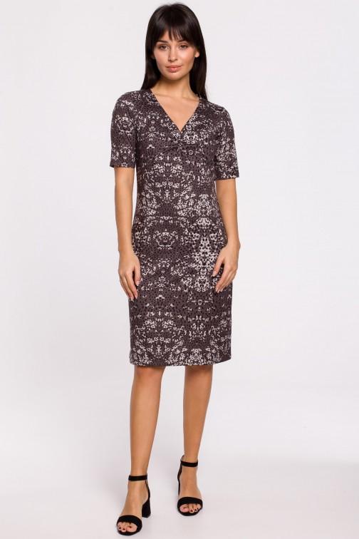 CM5139 Sukienka z nadrukiem i marszczeniami na przodzie - brązowo-szara
