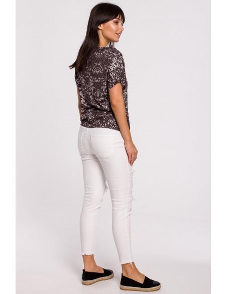 Bluzka z nadrukiem i krótkim rękawem - brązowo-szara
