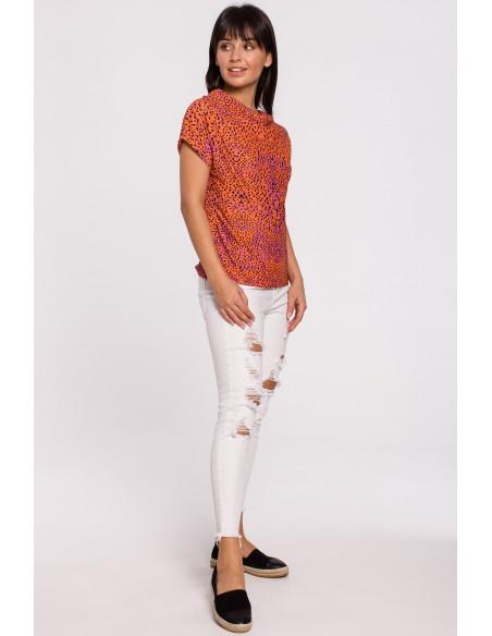 Bluzka z nadrukiem i krótkim rękawem - pomarańczowa