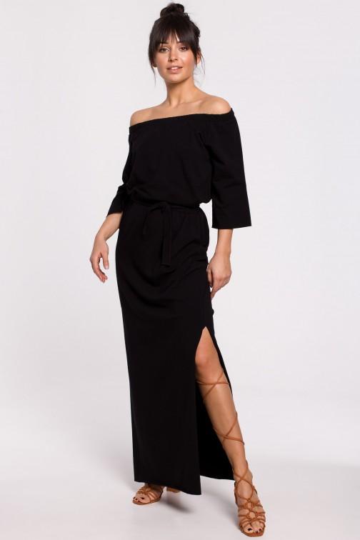 CM5145 Sukienka maxi z dekoltem rozkładanym na ramiona - czarna