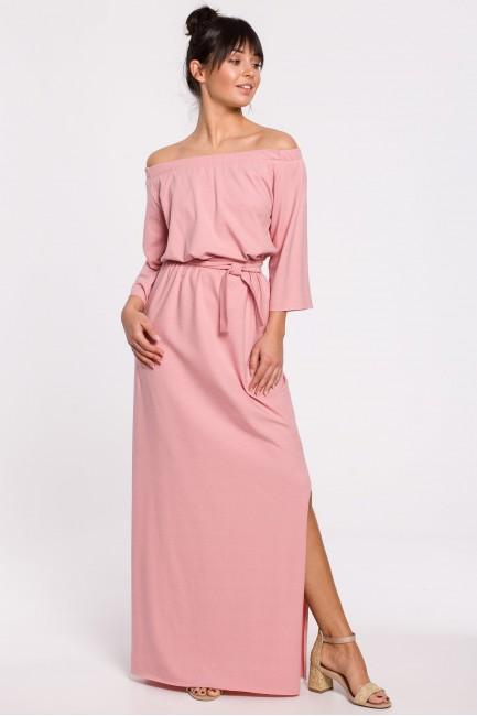Sukienka maxi z dekoltem rozkładanym na ramiona - różowa