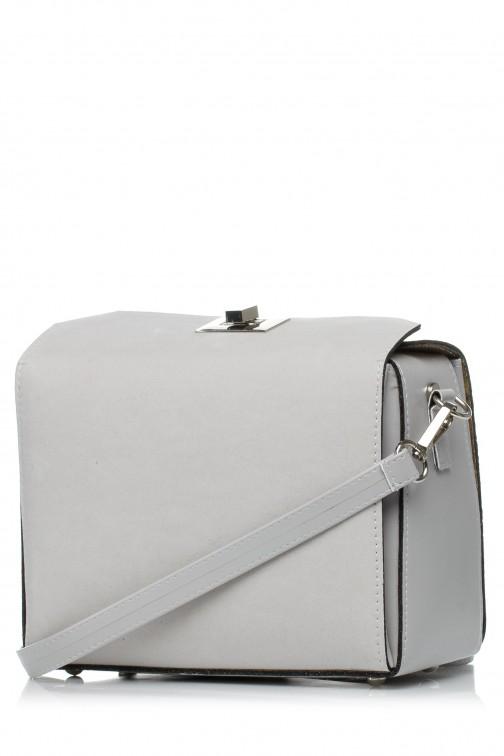 Torebka damska z zakładką i regulowanym paskiem - szara