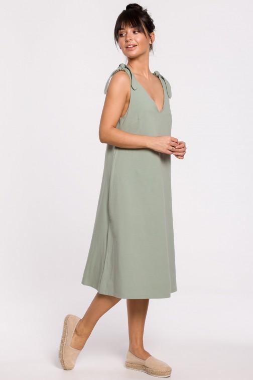 CM5147 Sukienka na wiązanych ramiączkach - pistacjowa