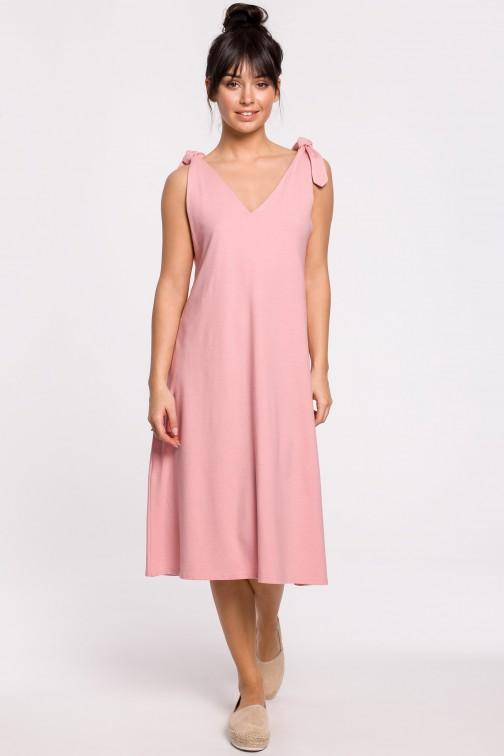 CM5147 Sukienka na wiązanych ramiączkach - różowa