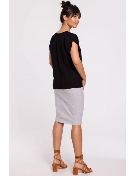 Bluzka z krótkim rękawem zapinana na guziki - czarna