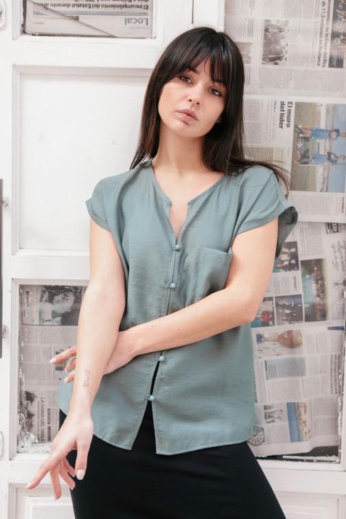 CM5149 Bluzka z krótkim rękawem zapinana na guziki - miętowa