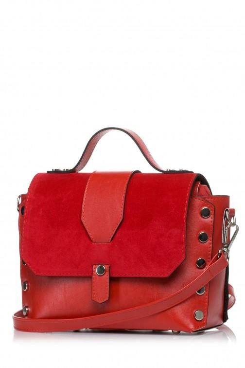 CM3573 Mała zapinana torebka z paskiem - czerwona