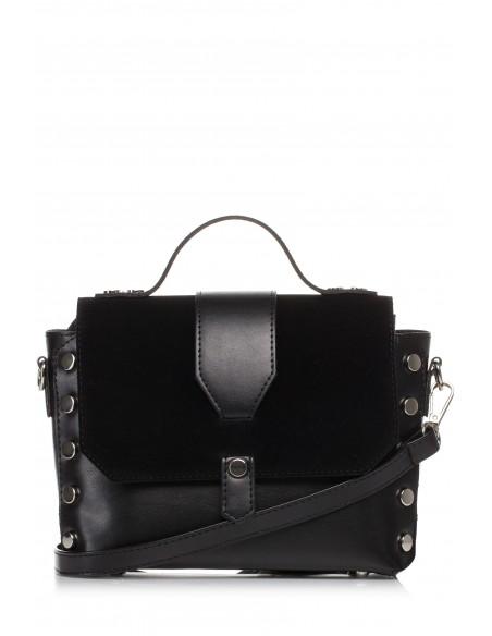 Mała zapinana torebka z paskiem - czarna