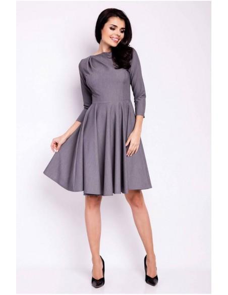 Rozkloszowana sukienka wieczorowa - szara