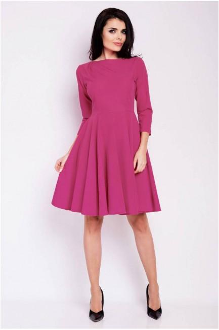 Rozkloszowana sukienka wieczorowa - różowa