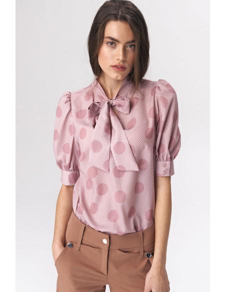Bluzka z wiązaniem w dekolcie - różowa-grochy