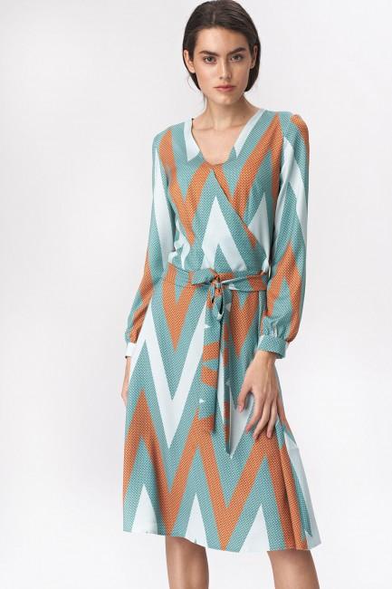 Rozkloszowana sukienka midi z paskiem - wzór