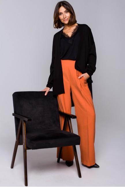 Spodnie z gumą w pasie i szerokimi nogawkami - pomarańczowe