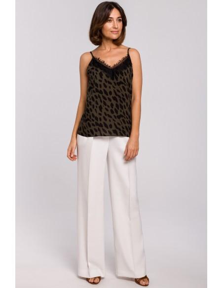Spodnie z gumą w pasie i szerokimi nogawkami - ecru