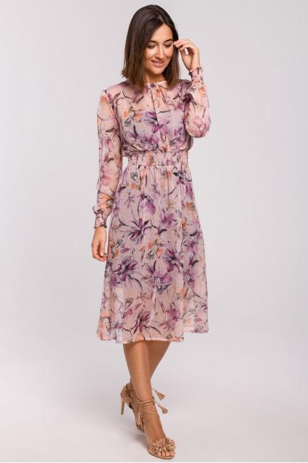 Szyfonowa sukienka midi z długimi rękawami - model 2