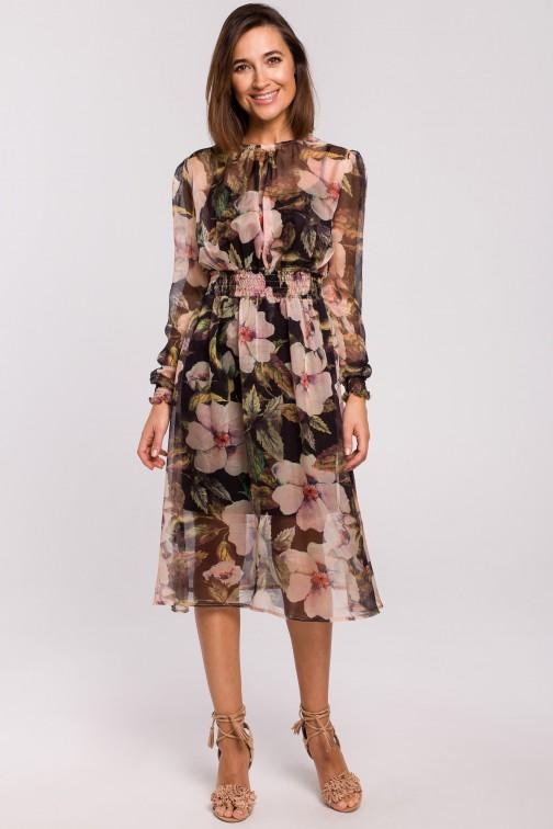 Szyfonowa sukienka midi z długimi rękawami - model 3