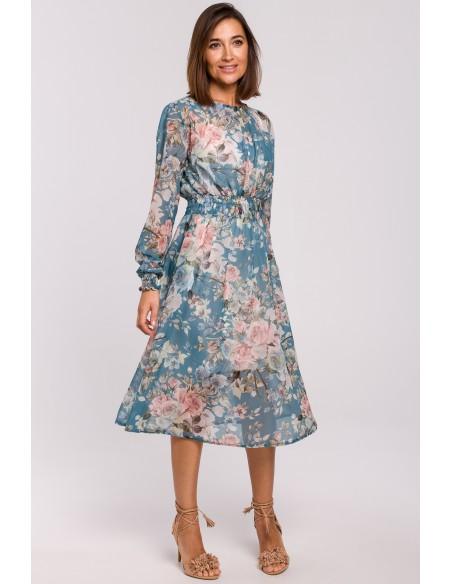 Szyfonowa sukienka midi z długimi rękawami - model 4