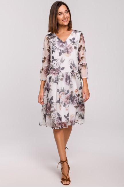 Szyfonowa sukienka z obniżoną linią talii - model 1