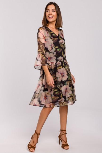 Szyfonowa sukienka z obniżoną linią talii - model 3