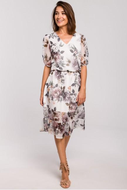 Sukienka szyfonowa z falbanką - model 1