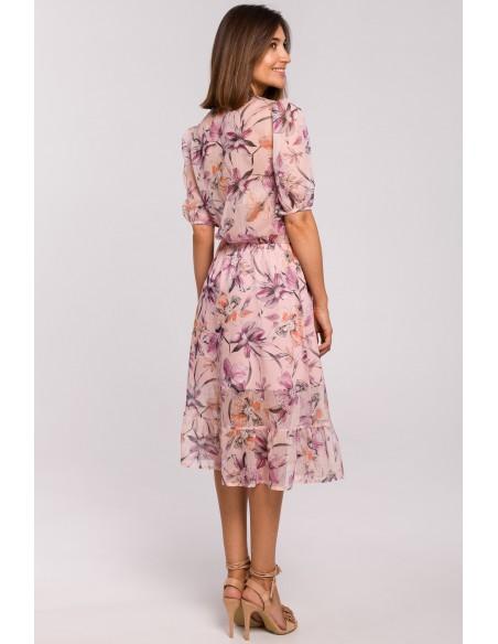 Sukienka szyfonowa z falbanką - model 2