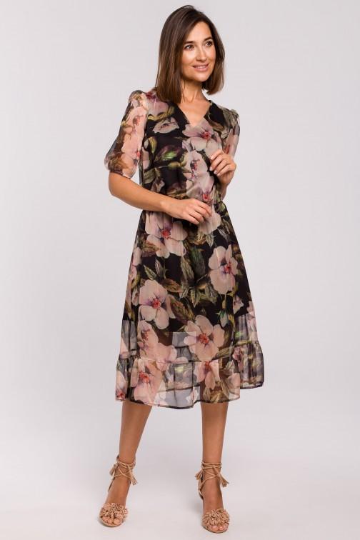 CM5174 Sukienka szyfonowa z falbanką - model 3