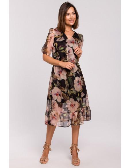 Sukienka szyfonowa z falbanką - model 3