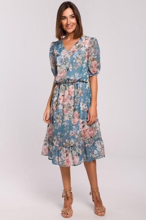 Sukienka szyfonowa z falbanką - model 4