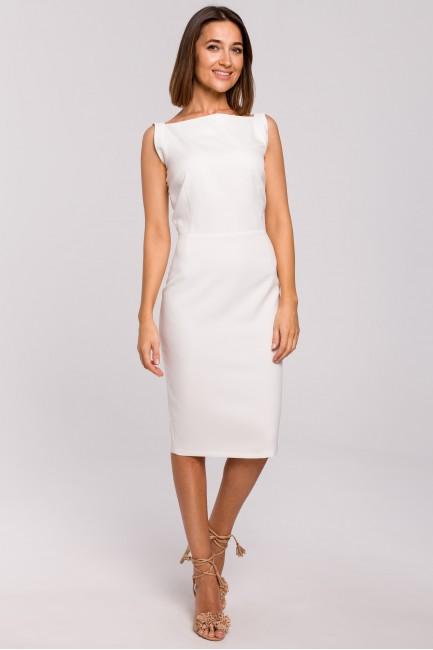 Sukienka ołówkowa bez rękawów - ecru