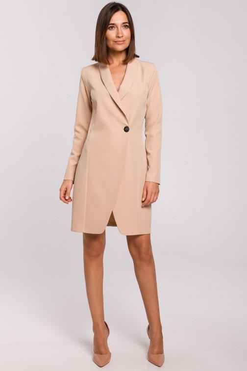 CM5176 Sukienka żakietowa - beżowa