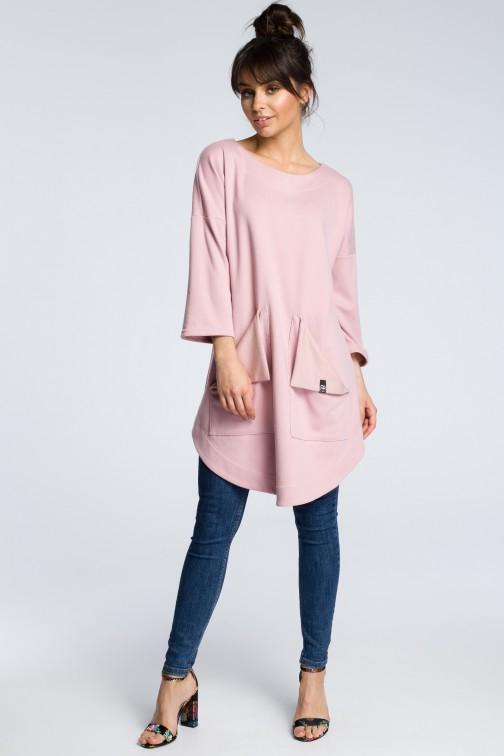 CM3601 Sukienka z wykładanymi kieszeniami - pudrowa