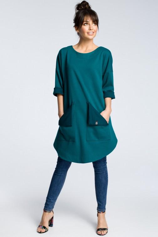 CM3601 Sukienka z wykładanymi kieszeniami - zielona