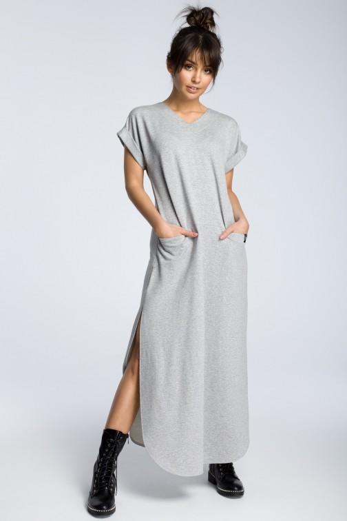CM3602 Sukienka maxi z rozcięciami po bokach - szara