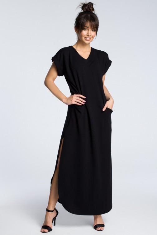 CM3602 Sukienka maxi z rozcięciami po bokach - czarna