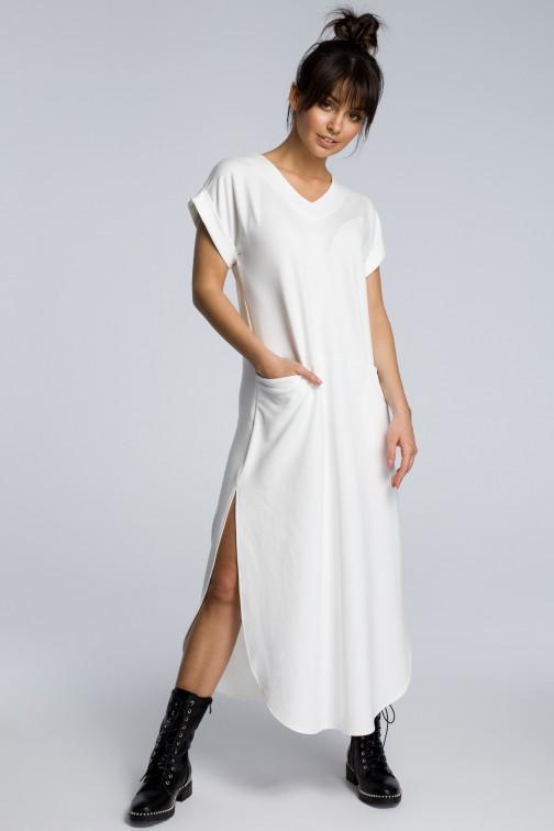CM3602 Sukienka maxi z rozcięciami po bokach - ecru