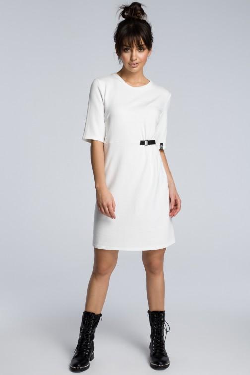 CM3603 Sukienka z klamrą - ecru