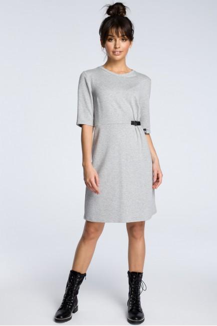 Sukienka z klamrą - szara